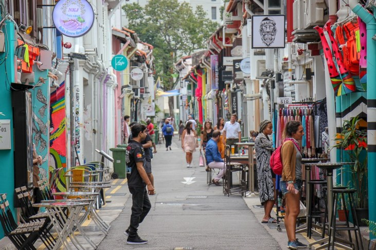 Shop- and cafe-lined Haji Lane in Kampong Glam in Singapore