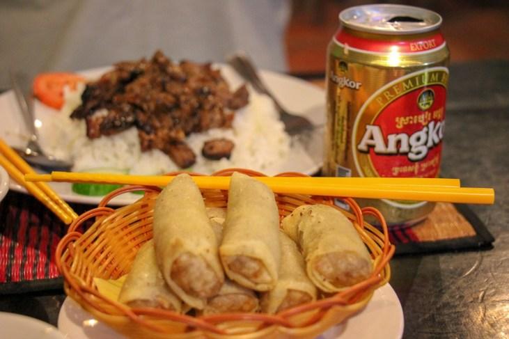 Spring rolls and Bai Sai Chrouk at Khmer Women Food in Phnom Penh, Cambodia