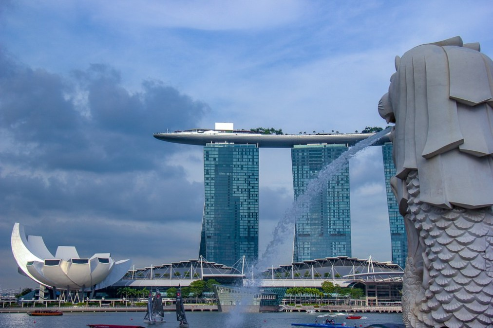 Water sprays from mouth of Merlion at Marina Bay in Singapore