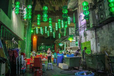Mongolian BBQ green street lamps in Kuala Lumpur, Malaysia