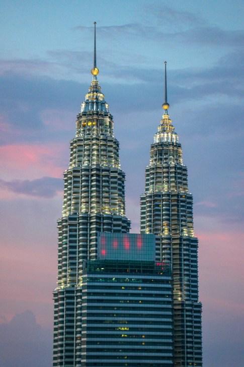 Petronas Twin Towers at sunset in Kuala Lumpur, Malaysia