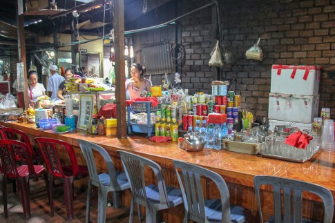Dining area at Russian Market in Phnom Penh, Cambodia