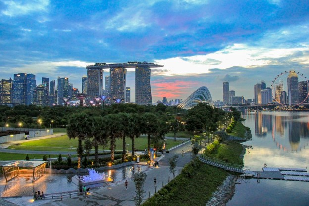 Skyline view at sunset from Marina Barrage in Singapore