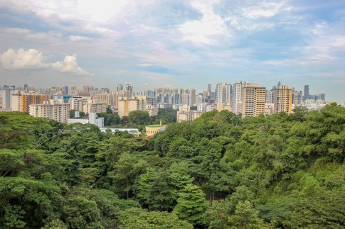 City views from Henderson Waves in Southern Ridges in Singapore
