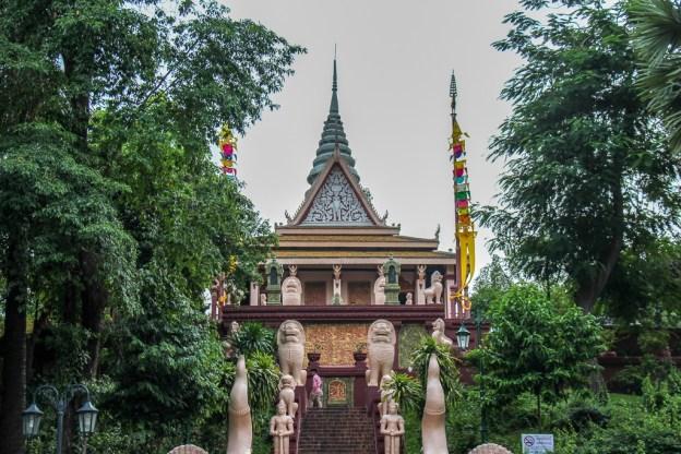 Grand staircase to Wat Phnom in Phnom Penh, Cambodia