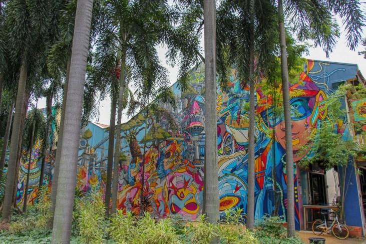Street art in Kampong Glam on Bali Lane in Singapore