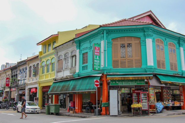 Colorful building line the streets in Little India in Singapore