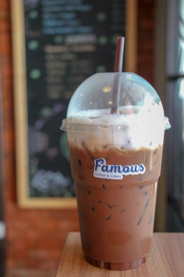 Iced Mocha coffee drink from Famous Coffee and Cake at Kamala Beach on Phuket, Thailand