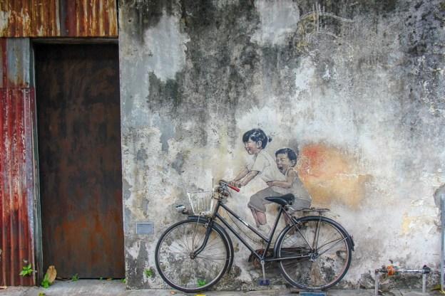 Kids on Bicycle street art mural in Geroge Town, Penang, Malaysia
