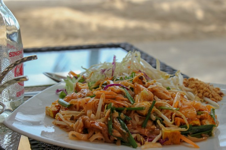 Pad Thai lunch on the beach at Lillo Island Restaurant at Kamala Beach on Phuket, Thailand