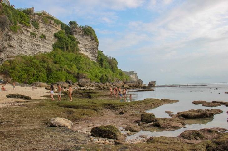 Exposed reef at Blue Point Beach in Uluwatu, Bali, Indonesia