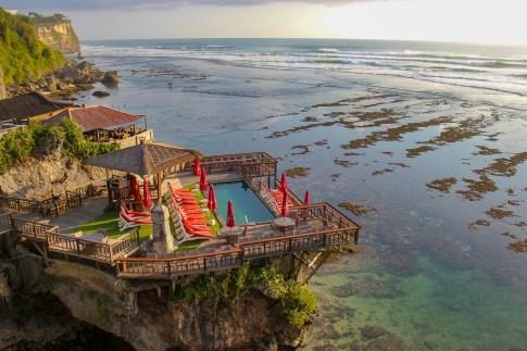 View of Delpi Cafe and pool from Uluwatu cliff in Uluwatu, Bali, Indonesia