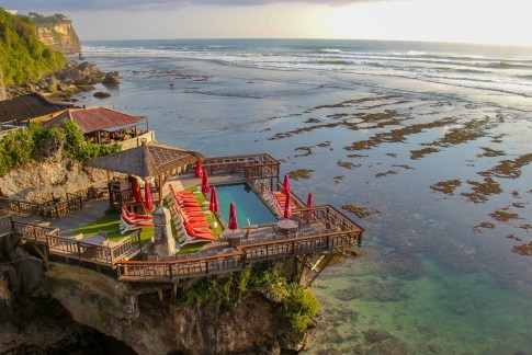 View of Delpi Cafe and pool from Uluwatu cliff in Uluwatu, Bali, Indonesia