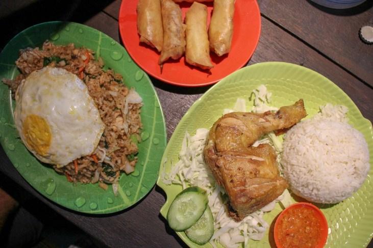 Traditional Indonesian meal of Nasi Goreng and Ayam Goreng at Nyoman Local Food in Uluwatu, Bali, Indonesia