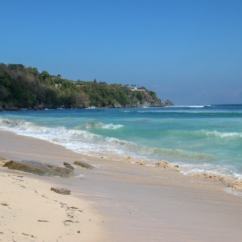 Shoreline at Padang-Padang Thomas Beach in Uluwatu, Bali, Indonesia