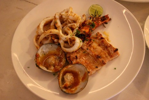 Platter of grilled seafood at Echo Beach Bar and Grill in Canggu, Bali, Indonesia
