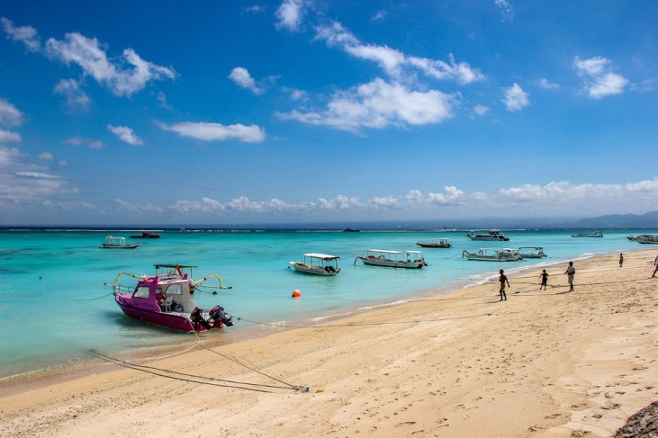 Boats along the sand on Jungut Batu beach on Nusa Lembongan, Bali, Indonesia
