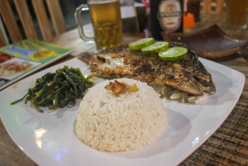 Dinner of Whole Fish at Warung Smile in Canggu, Bali, Indonesia