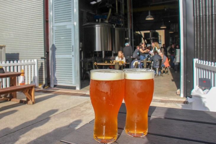 Extra Hop IPA beers in beer garden at Sauce Brewing Co in Marrickville, Sydney, Australia