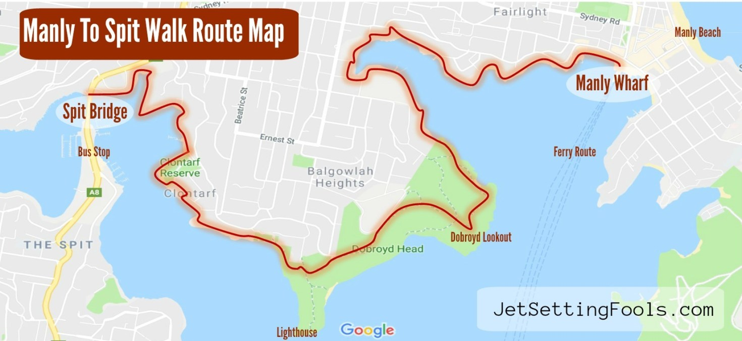 Manly to Spit Walk Route Map