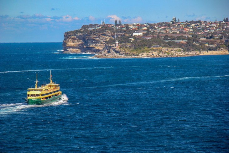 Ferry Boat and Hornby Lighthouse on walk from Manly to Spit Bridge in Sydney, Australia