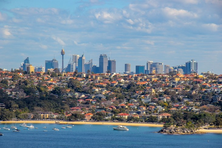 Sydney Skyline from viewpoint on Manly to Spit Walk