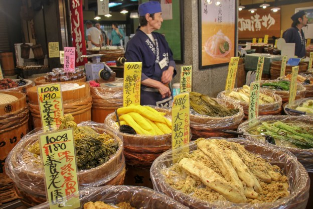 Food displayed at Nishiki Market in Kyoto, Japan