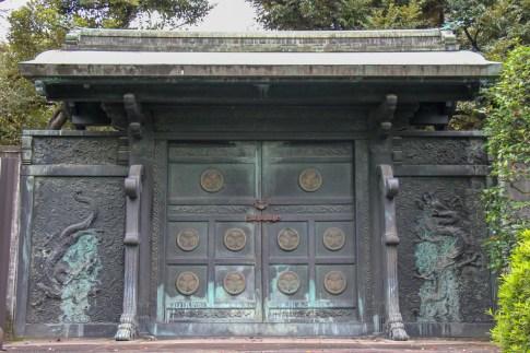 Ancient gates at Zojoji Temple in Tokyo, Japan