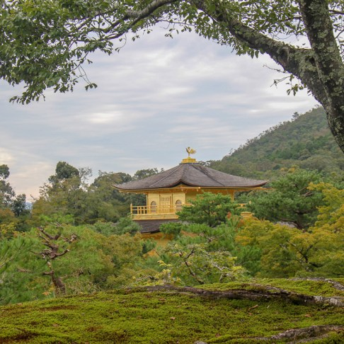 View of famous Golden Temple Kinkakuji in Kyoto, Japan