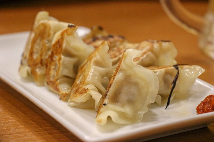 Fried Gyoza at Ippudo Roppongi ramen restaurant in Tokyo, Japan