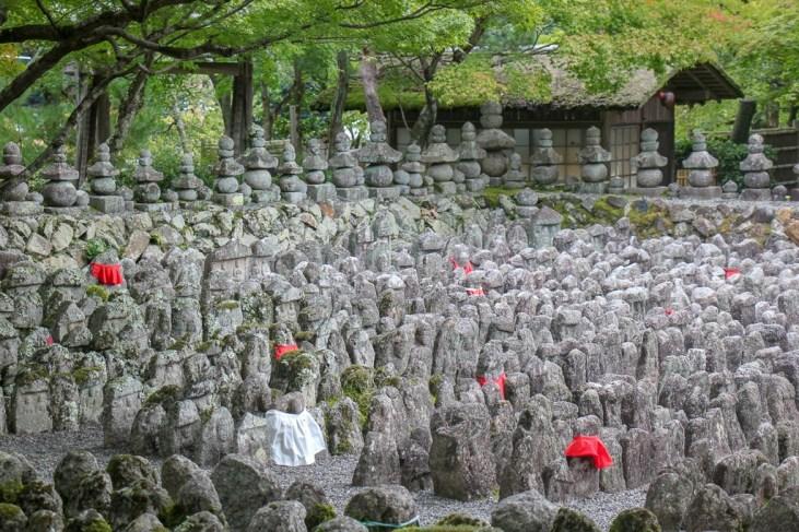 Ancient headstones at Adashino Nenbutsuji Temple in Kyoto, Japan