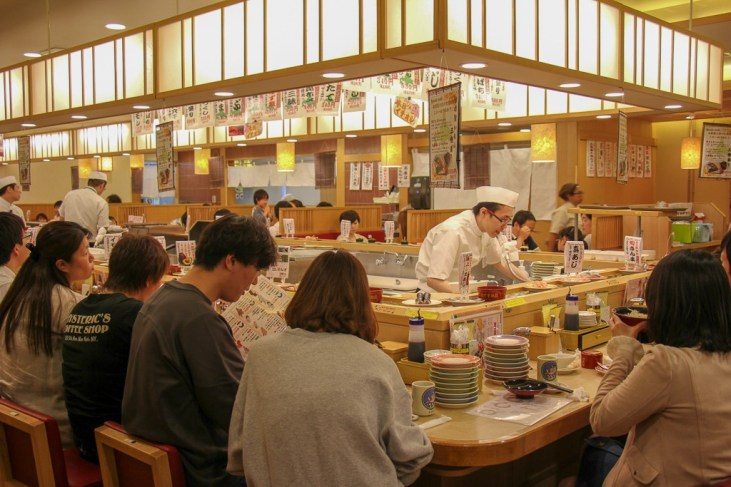 Conveyor Belt Sushi at Toriton Sushi Restaurant in SkyTree, Tokyo, Japan