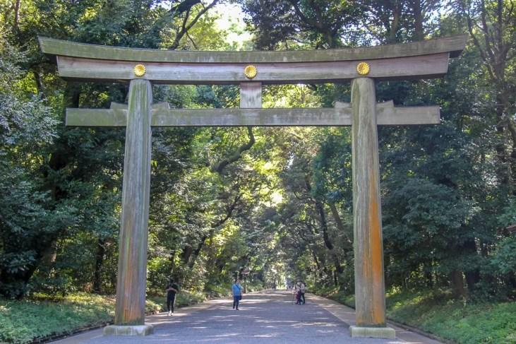 Large Torii Gates marks entrance to Meiji Shrine in Tokyo, Japan