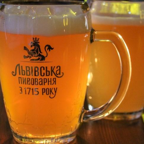 Mug of local beer at Ukrayins'ke Podvirya restaurants in Lviv, Ukraine