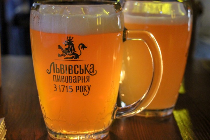 Mug of local beer at Ukrayins'ke Podvirya restaurants in Lviv, Ukraine