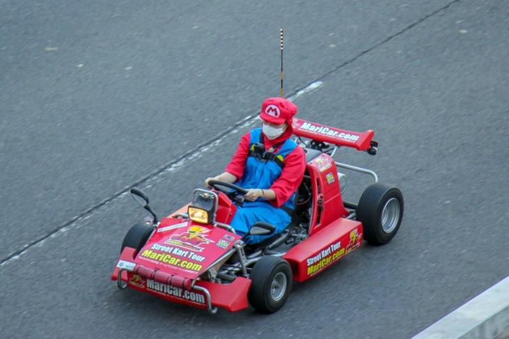 Go-Kart driver dressed at Mario in Tokyo, Japan