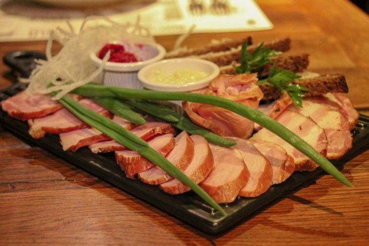 Meat platter served at Kumpel Brewery in Lviv, Ukraine