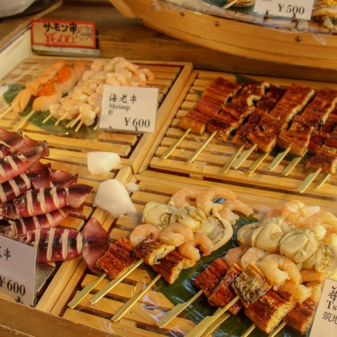 Meat and Fish On Sticks, Tokyo, Japan