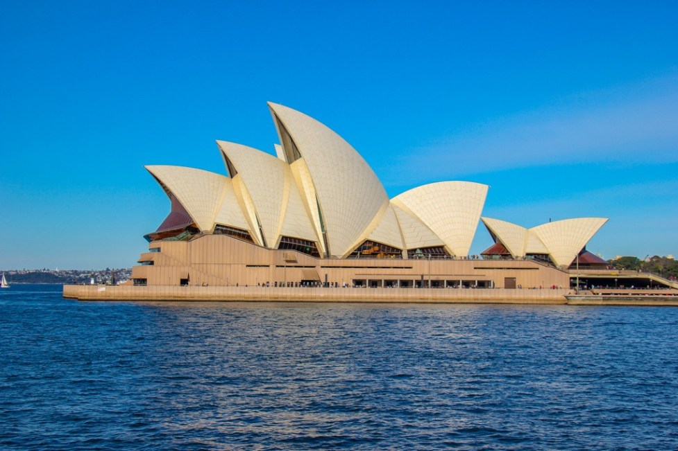 The Sydney Opera House viewed from Sydney Harbour, Australia