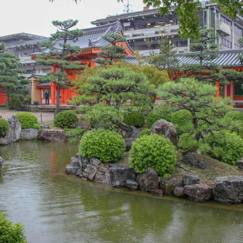 Pond and Garden at Rengeoin Sanjusangendo Temple in Kyoto, Japan