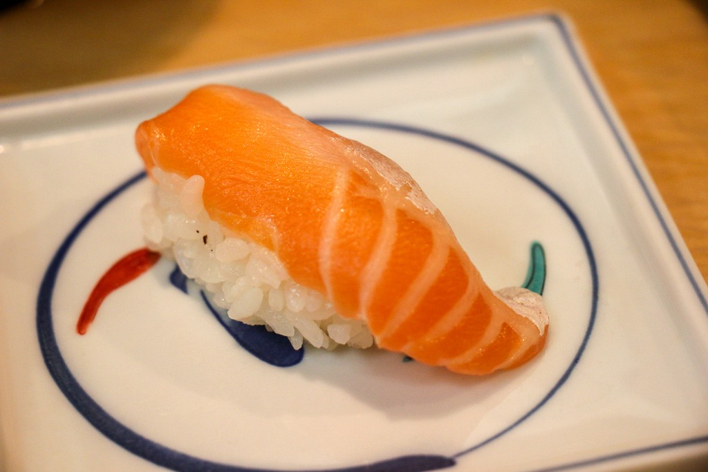 Salmon sushi at Tsukiji Outer Fish Market in Tokyo, Japan