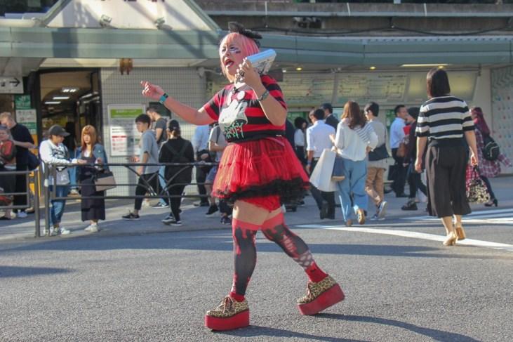 Girl in Kawaii entertains at Takeshita dori in Tokyo, Japan