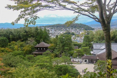 View overlooking Ginkakuji Silver Temple in Kyoto, Japan