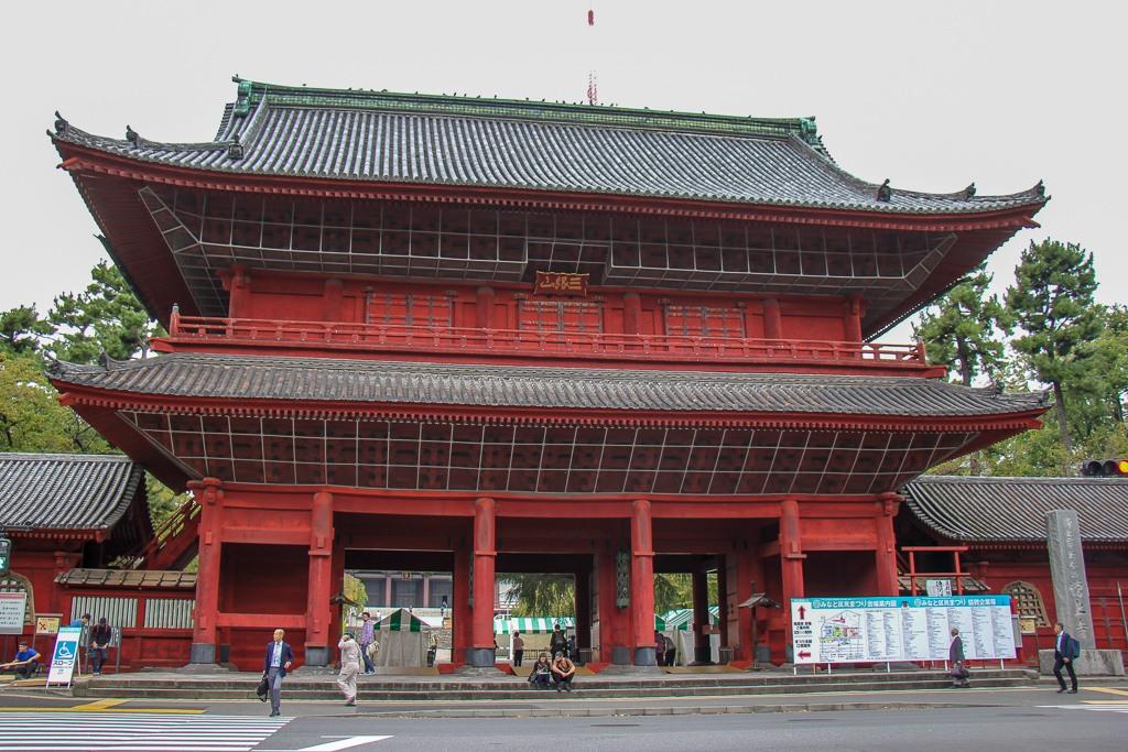 Historic Sangedatsumon Gate at Zojoji Temple in Tokyo, Japan