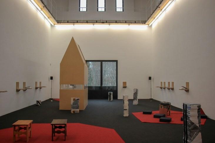 Modern art display at Portikus Gallery in Frankfurt, Germany