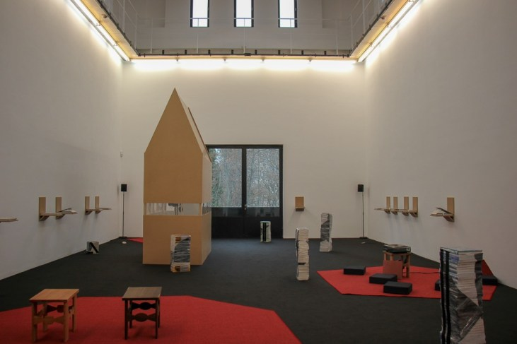Modern art display at Portikus Gallery in Frankfurt, Germany