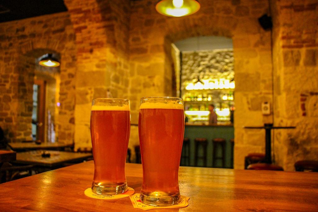 Two beers at Black Dog Bar in Split, Croatia