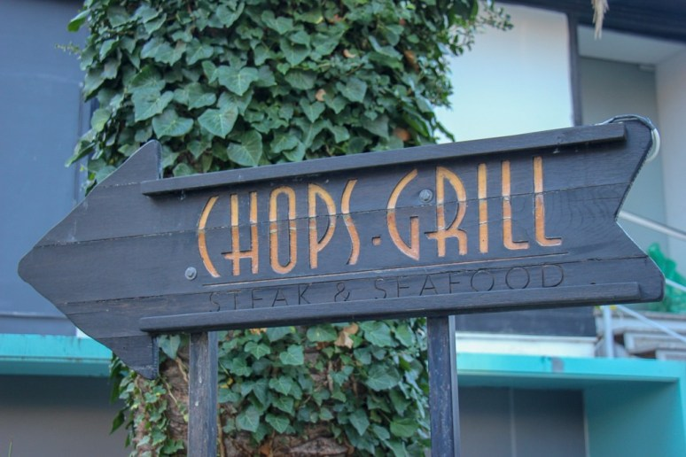 Sign points the way to Chops Grill and Steakhouse in Split, Croatia