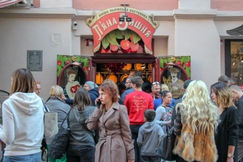 Crowds gathered in front of Drunk Cherry Bar in Lviv, Ukraine