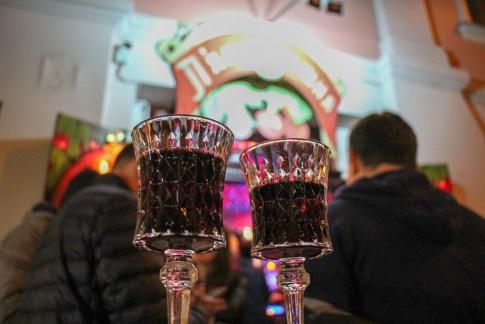 Two glasses of cherry liqueur at Drunk Cherry in Lviv, Ukraine